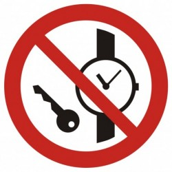 GAP 008 Zakaz wstępu z przedmiotami metalowymi i zegarkami