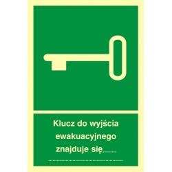 AB001 Klucz do wyjścia ewakuacyjnego znajduje się .....