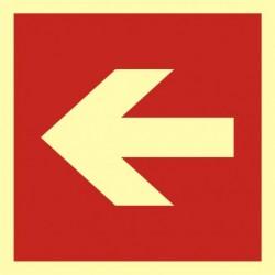 BA 011 Kierunek do miejsca rozmieszczenia sprzętu pożarniczego lub urządzenia ostrzegającego