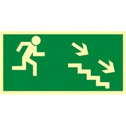 AA004 Kierunek do wyjścia drogi ewakuacyjnej schodami w dół w prawo