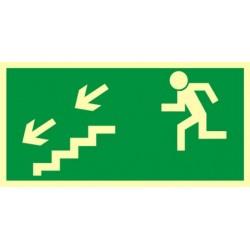 AA005 Kierunek do wyjścia drogi ewakuacyjnej schodami w dół w lewo