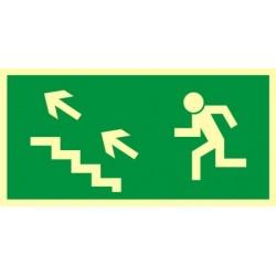 AA006 Kierunek do wyjścia drogi ewakuacyjnej schodami w górę w lewo