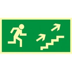 AA007 Kierunek do wyjścia drogi ewakuacyjnej schodami w górę w prawo