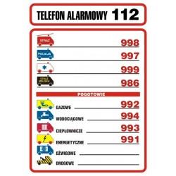 DA 001 Tabliczka telefonów alarmowych