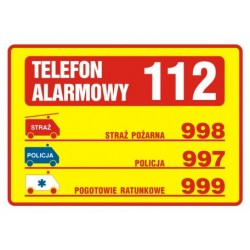 DA 003 Tabliczka telefonów alarmowych