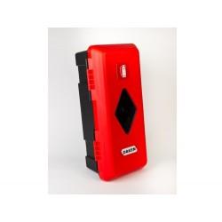 Szafka na gaśnice 4 kg i 6 kg PCV czerwona z oknem