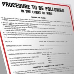 DB 003ENG Angielska instrukcja postępowania w przypadku powstania pożaru- Procedure to be followed in the event of fire